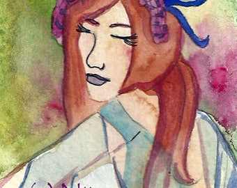 Spring Dance ACEO Watercolor Painting Pagan Art Goddess Dance Spring Dance Original Illustration Fantasy ACEO Art