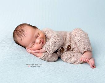 Newborn Onesie, Knit Romper, Photo Props,  Baby Pj's, Onesie with Button Front.