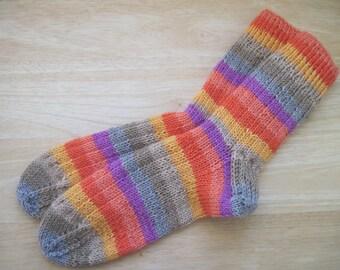HAND KNIT SOCKS Adult Wool Bright Flower Stripes