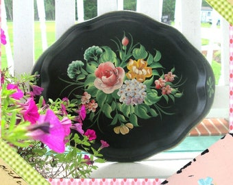 Toleware Tray, Serving Tray, Handpainted Tray, Vintage Floral Tray, Black Toleware Tray, Shabby Chic