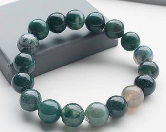 Moss Opal Bracelet - Chakra Bracelet, Yoga Bracelet, Gemstone, Semi Preciuos Stone Bracelet, Healing Bracelet