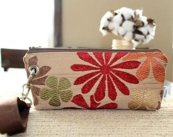 Zipper Pouch Clutch Wallet - Long Wallet - Cell Phone Wallet - Errand Runner Fabric Wallet Wristlet - Formal - Fall Wedding - Evening Bag
