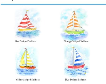 Kids Nautical Wall Decor - Nautical Nursery Decor - Set of 4 - Kids Nautical Wall Art - Sailboat Nursery Art - Sailboat Wall Art