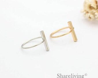 2pcs Silver, Golden Bar Ring, Nickel Free, High Quality Brass Bar Rings