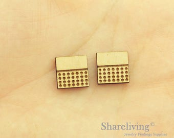 6pcs Wooden Square Charm / Pendant, DIY Laser Cut Mini Blank Wood Charm, Perfect for Earring  - HWD512B