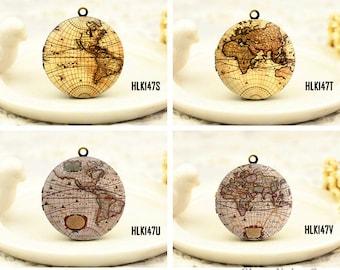 1pcs Vintage Globe Map Locket Necklace , Antique Bronze Brass Retro Map Charm Pendant 32mm 25mm 20mm Locket