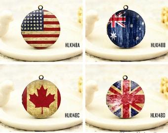 1pcs Vintage National flag Locket Necklace , Antique Brass United States, United Kingdom, Canada, Australia Retro Flag Charm Pendant