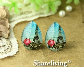 SALE - 30% OFF 4pcs 18x25mm Handmade Photo Teardrop Glass Cabs Cabochons (Eiffel Tower) -- BCH956L