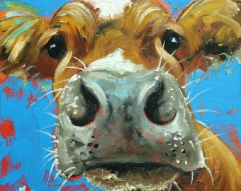 Cow painting 1228 12x12 inch original animal portrait oil painting by Roz