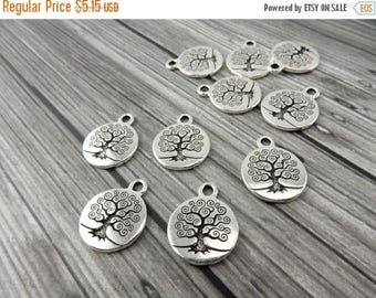 Summer Flash Sale TREE of LIFE Charms, Antique Silver, Tierracast, Yoga Charms, Meditation Charm Drops, Tierra Cast