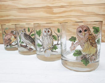 Vintage Owl Rocks Lowball Glasses Set Of 4 Mid Century Retro Drinking Barware Lot