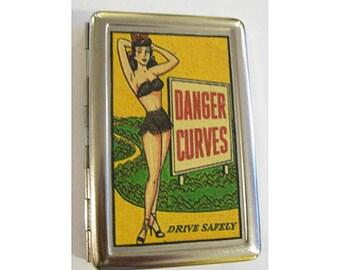 pin up girl metal wallet retro vintage cigarette case ID rockabilly kitsch