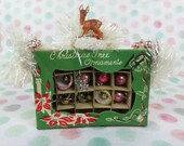 CHRISTMAS Vintage mini Tree Ornament box with Deer Ornament Holiday Assemblage