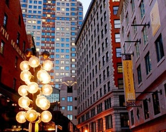 50% OFF SALE Boston Photograph At Night Landscape Picture City Photography Plum Urban Skyscrapers- 8x10 inch Print - And The Dusk Was Full