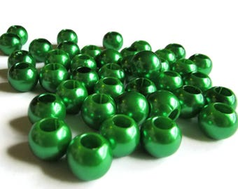 40 12mm Large Hole Pearls Green Pearl Beads European Beads Plastic Pearl Beads Round Pearl Beads Plastic Beads Acrylic Beads