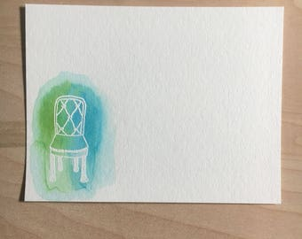 white chair flat note cards