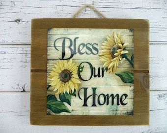 WOOD SLAT Bless our Home Wall Hanging Pallet Sign Sunflowers Jute Hanger Beautiful Home Decor Great Gift For Her Faux Painting Wooden Metal