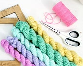 day trip   ... handspun yarn set, weaving creative yarn bundle, hand spun, hand dyed yarn, handspun art yarn