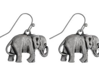 Silvertone Elephant Earrings