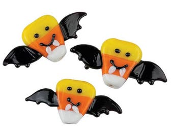 Candy Corn Bat Lampwork Beads, 35mm x 18mm, pack of 12