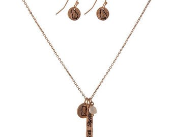 University of Georgia Charm Necklace and Earrings Set, Goldtone