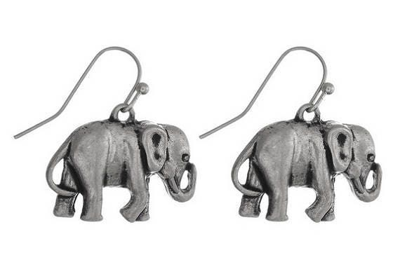Silvertone Elephant Earrings