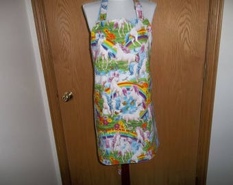 Apron, Unicorns, Full Women's Apron, Reversible,  Front Pocket, Chefs Apron, Handmade, Adjustable Neck Band, Hostess Gift, Rainbows, Clouds