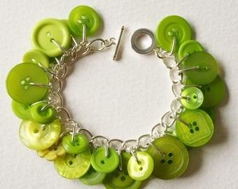 Button Charm Bracelet Bright Tropical Lime Green