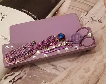 Gypsy HairStylist Business Card Holder/Purple  Comb