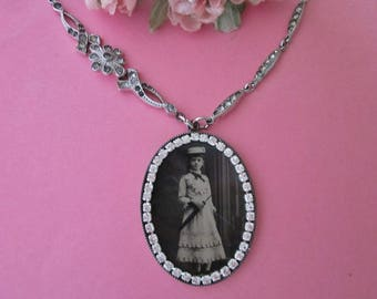 Antique Tintype Necklace Assemblage with rhinestones and deco chain Girl with Parasol