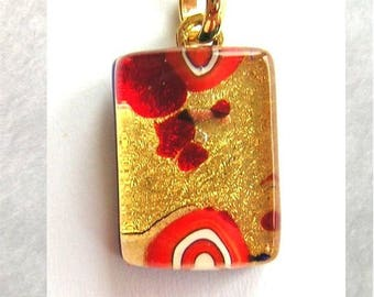 Lampwork Glass Pendant 24kt Gold Leaf with Millefiori 20x14x6mm