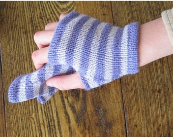 First Fall Sale - 15% Off Wild Iris Ferry Glovelets - Striped Fingerless Gloves in Shades of Purple