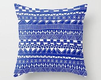Decorative pillow- blue and white- hand drawn geometric pattern- modern home decor- dorm decor- teen room decor- dark blue- indigo and white