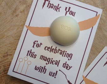 Harry Potter bridal shower EOS lip balm favor card, thank you, Quidditch, golden snitch, gift, instant download,printable, broom,magical day