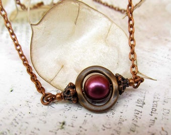 Delicate Necklace Coworker Gift jewelry gift for her Burgundy Copper Jewelry Simple Everyday Stocking Stuffer Gift under 15