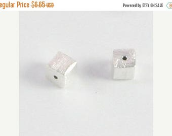 SHOP SALE Brushed Matte Sterling Silver Puffed Square Beads, Cube Focal Beads 5mm (4 beads)