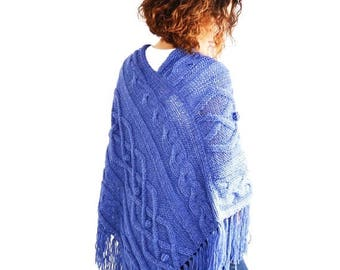 20% WINTER SALE Jean Blue Cable Knit Poncho by Afra Plus Size Over Size Maternity