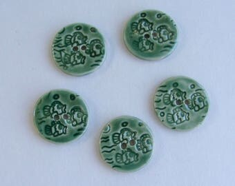 Set of 5 Handmade Ceramic  Buttons, Little Fishes