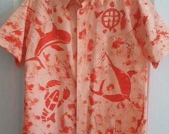 Handpainted Men's button down shirt