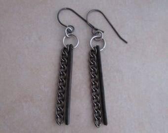 rock n roll earrings oxidized copper sterling silver gunmetal dangle