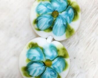 handmade floral lentil lampwork beads by joycelo