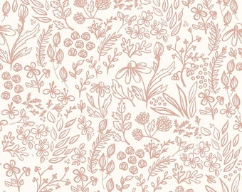 Yes Please Main Floral Cream - rose gold floral on creamy white background  - Yes Please from Riley Blake - 100% cotton quilting fabric