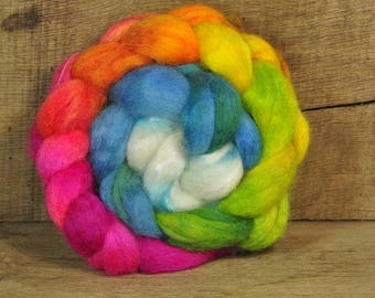 BFL Wool / Sparkly Nylon Top - 'Bright Rainbow'