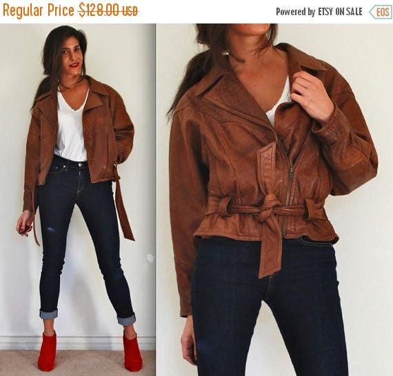 SUMMER SALE / 20% off Vintage 80s Adventure Bound Brown Leather Aviator Jacket (size small, medium)