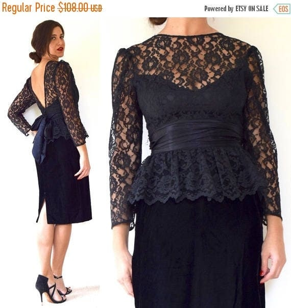 SUMMER SALE/ 30% off Vintage 80s 90s Black Velvet Lace Bodice Peplum Pencil Dress (size small)
