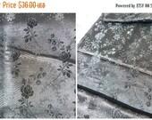 "ON SALE Vintage Antique Victorian 1890 French black silk brocade panel 43.3 "" x 21.7 """