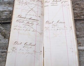 Vintage Antique 1850 Victorian French handwritten  register notebook/delivery book