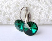SALE Emerald rhinestone leverback earrings / May birthstone / surgical steel / girlfriend gift / gift for her / Swarovski / hypoallergenic