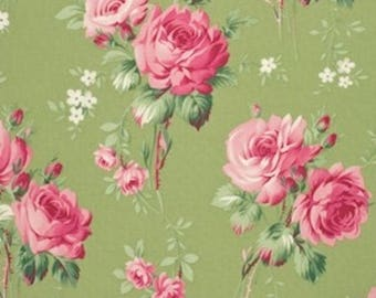 Tanya Whelan Fabric - Barefoot Roses, Legacy Collection, Stemmed Flower in Green- FAT QUARTER SALE