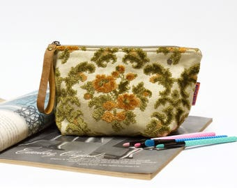 Large Velvet Cosmetic bag, floral makeup bag in green and gold, vintage fabric toiletry bag, canvas bag, Handmade gift for her by EllaOsix